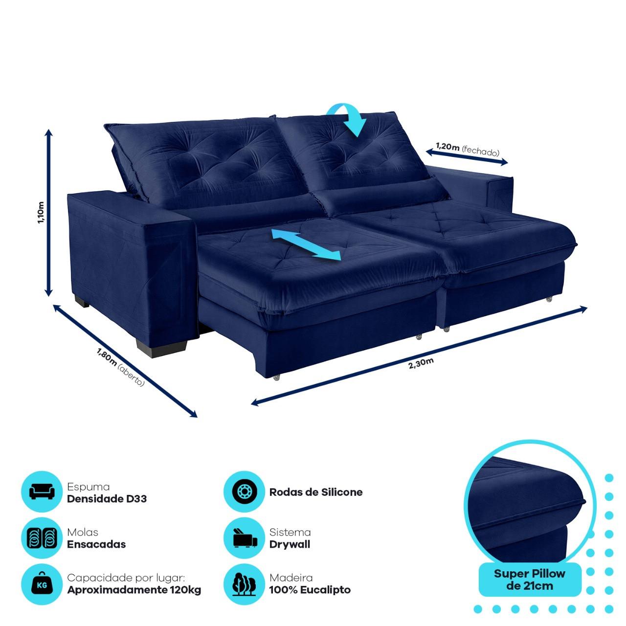Sofá Cancún Retrátil/Reclinável 2,30m Suede Velusoft azul c/molas ensacadas e super pillow top - Sofá Casa