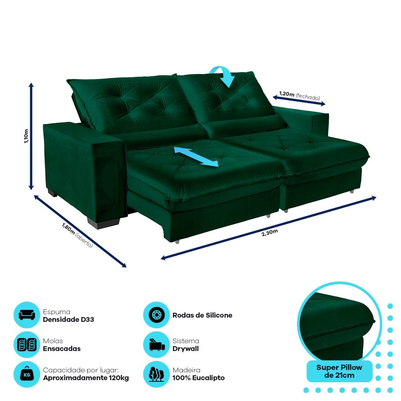 Sofá Cancún Retrátil/Reclinável 2,30m Suede Velusoft verde c/molas ensacadas e super pillow top - Sofá Casa