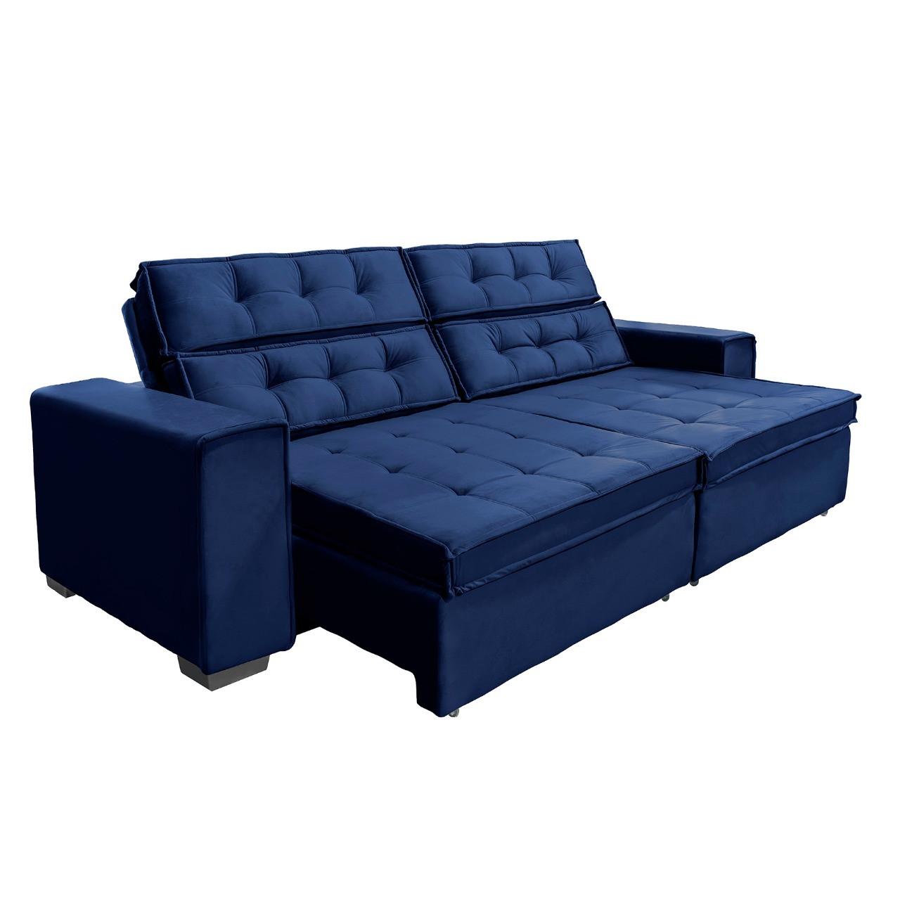 Sofá Vancouver Retrátil/Reclinável 2,10m Suede Velusoft azul c/mola helicoidal - Sofá Casa
