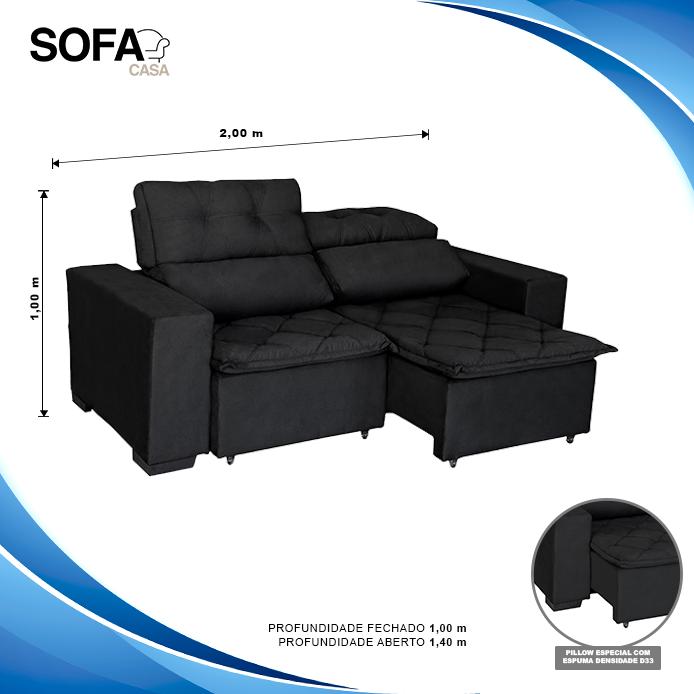 Sofá Soft Slim 3 Lugares Retrátil e Reclinável - 2,00m com molas no assento Pluma Preto - Sofá Casa