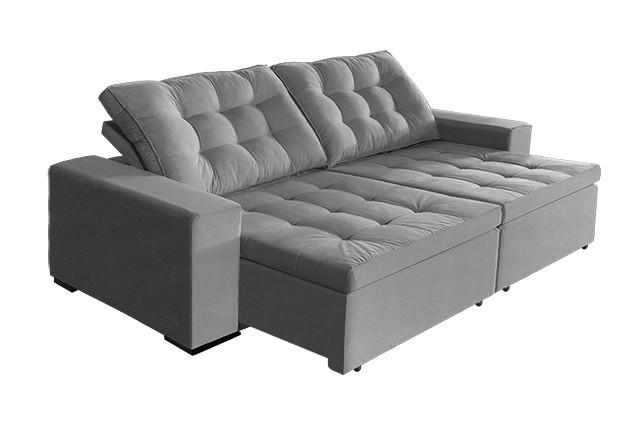 sofá Tunísia 2,70 mts retrátil e reclinável pluma Cinza