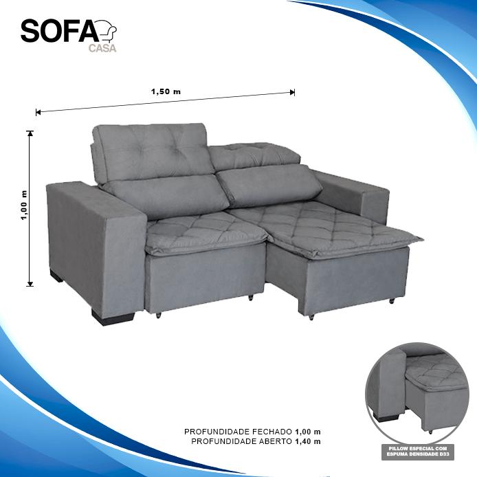 Sofá Soft Slim 2 Lugares Retrátil e Reclinável - 1,50m com molas no assento Pluma Cinza - Sofá Casa