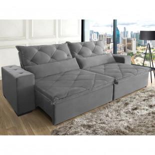 sofá lisboa 310 suede vegetalle cinza ambiente