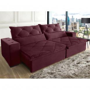 sofá lisboa 310 suede vegetalle vinho ambiente