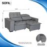Sofá Soft Slim 1,50Mts Cinza medidas