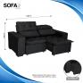 Sofá Soft Slim 2,00Mts Preto medidas